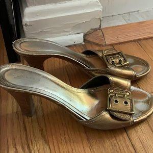 Coach bronze slide sandals worn 8.5